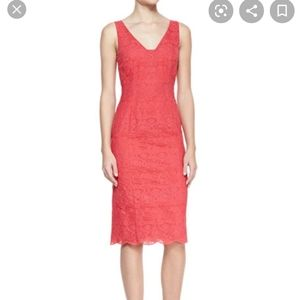 "Tory Burch ""Cameron"" pinkish red lace sheath dress"
